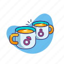 couple, love, married, mugs, relationship, valentine, valentine's day icon