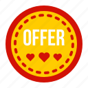discount, heart, label, offer, sale, sticker, tag icon