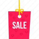 label, online, ribbon, sale, shopping, tag, valentine icon