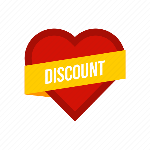 day, discount, heart, label, offer, ribbon, valentine icon