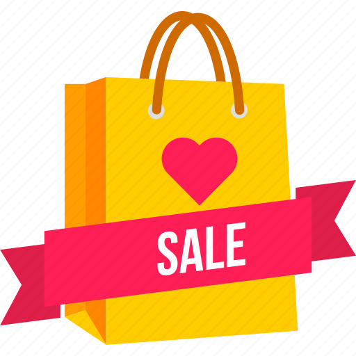 bag, carry, cart, offer, shopping, valentine icon