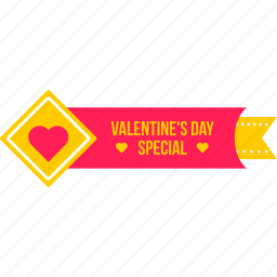coupon, day, offer, ribbon, special, sticker, valentine icon