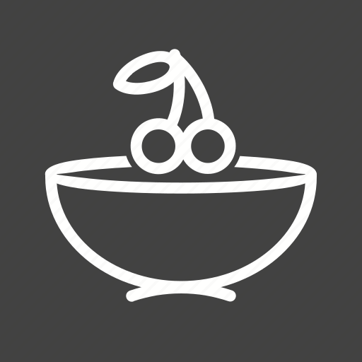 bowl, cherry, fruit, leaves icon