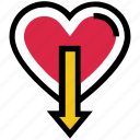 arrow, down, heart, like, love, valentine's day
