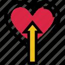 arrow, heart, like, love, up, valentine's day icon