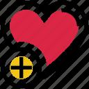 add, heart, love, plus, valentine's day icon