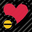 heart, love, minus, remove, valentine's day icon