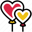 balloons, heart, love, party, romance, valentine's day icon