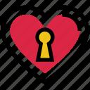 dating, heart, heart lock, lock, love, valentine's day icon