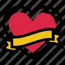 banner, celebration, heart, love, ribbon, valentine's day