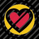 ban, hate love, heart, no, no love, valentine's day icon