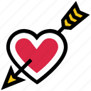 arrow, bow, cupid, heart, love, valentine's day icon