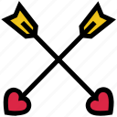 arrows, bow, cupid, heart, love, valentine's day icon