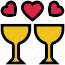 beverage, cheers, drinks, glass, heart, relationship, valentine's day icon