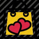 hand bag, heart, shopping bag, valentine gift, valentine shopping, valentine's day icon