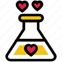 affection, chemical, heart, love, magic, test tube, valentine's day