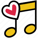 heart, music, music note, musical, quaver, romantic music, valentine's day