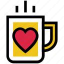coffee, cup, heart, heart tea, mug, tea, valentine's day icon