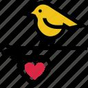 bird, bird and heart, glowing dove, heart, love bird, valentine's day