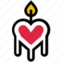 candle, dating, decoration, fire, heart, love, valentine's day icon