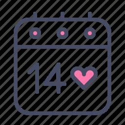 calendar, date, day, event, love, romance, valentines icon