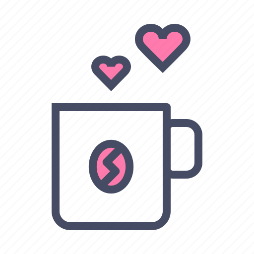 Coffee, cup, heart, love, romance, valentines, hygge icon - Download on Iconfinder