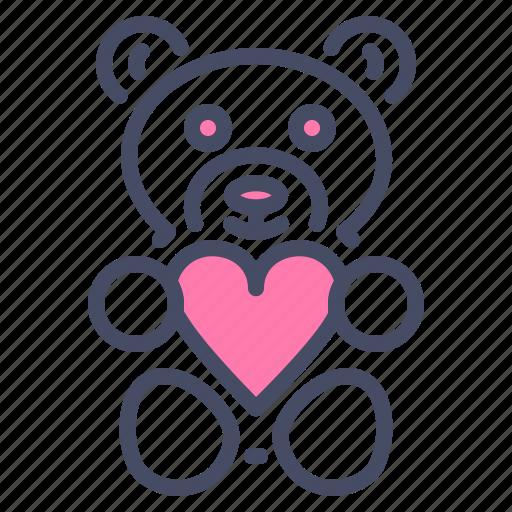 day, gift, heart, love, romance, teddy bear, valentine icon