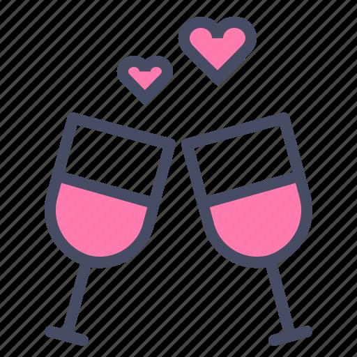 date, day, love, romance, toast, valentines, wine icon
