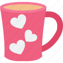 heart teacup, passion, saucer, tea icon