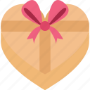 gift box, happiness, heart shaped, love present icon