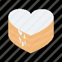 cake, chocolate cake, heart shaped, valentine day icon