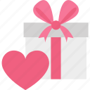 heart shaped, love present, opened gift box, passion icon