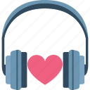 headphone with heart, love inspiration, love music, love songs icon