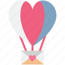 fun, heart shape, hot air balloon, love icon