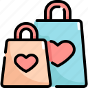 bag, love, romance, shopping, valentine, valentines icon
