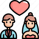 couple, love, marriage, romance, valentine, valentines icon