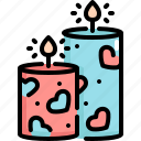 candle, decoration, love, romance, valentine, valentines icon