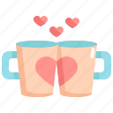 coffee, cup, heart, love, romance, valentine, valentines icon