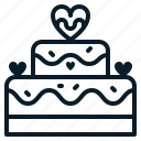 birthday, cake, dessert, heart, love, romantic, valentine icon
