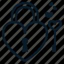 heart, key, lock, love, mind, valentine icon