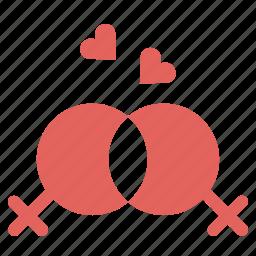 couple, heart, lesbian, lgbt, love, marriage, romance icon