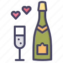 celebrate, champagne, date, heart, love, valentines, wedding icon