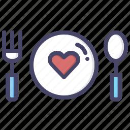 date, dinner, food, heart, love, romance, valentines icon