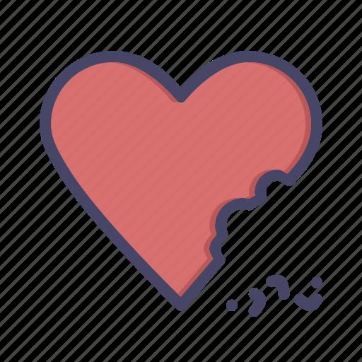 bite, cake, celebrate, chocolate, heart, love, valentines icon