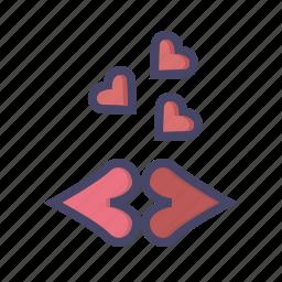 kiss, kisses, lips, love, romance, romantic, valentines icon