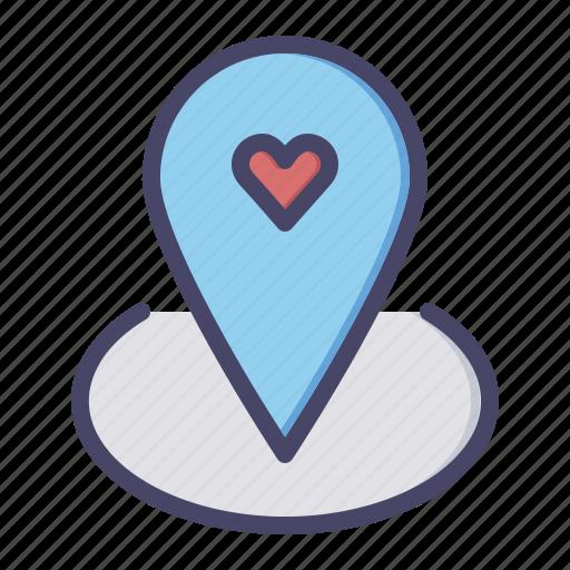 day, location, love, marker, romance, valentines icon