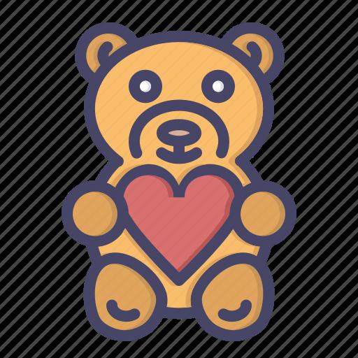 day, gift, love, present, romance, teddy bear, valentine icon