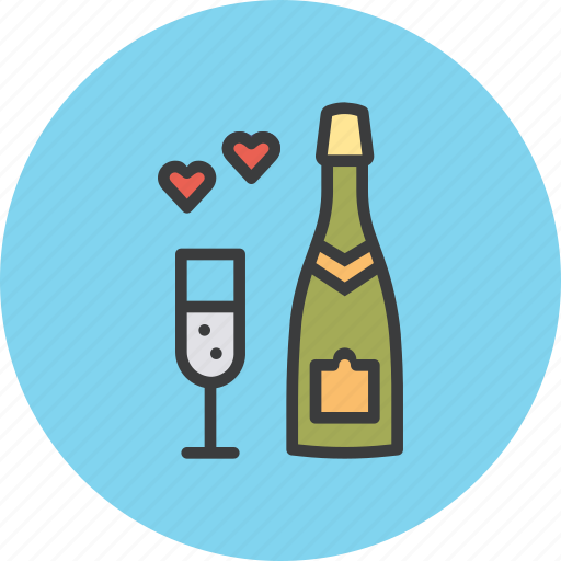 Celebrate, champagne, date, heart, love, valentines, wedding icon - Download on Iconfinder