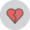 break, breakup, heart, love, romance, up, valentines icon