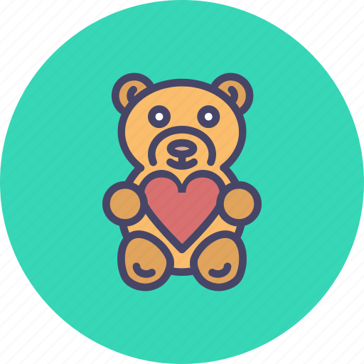 day, gift, heart, love, romance, teddy bear, valentine icon